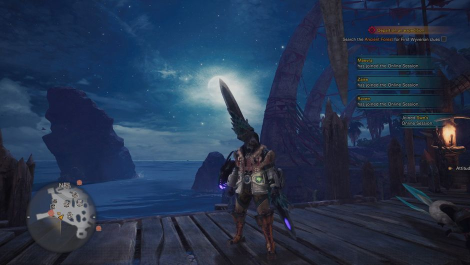 Monster Hunter World player character looking at the sky from a pier screenshot