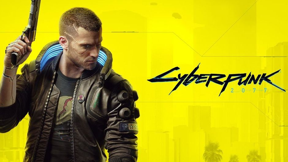 Cyberpunk 2077 artwork showing male V on a yellow background with cyberpunk 2077 logo