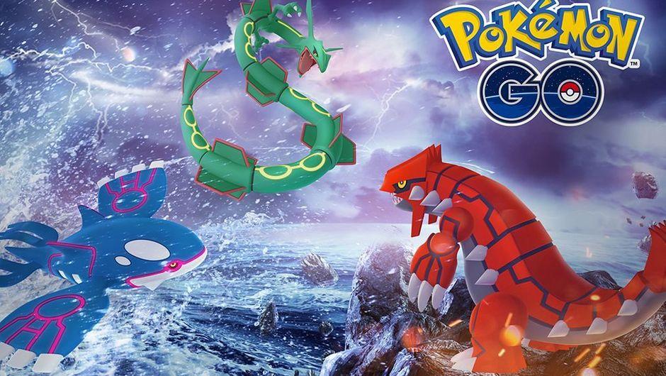 Rayquaza, Kyogre and Groudon on Pokemon GO's Legendary Week logo