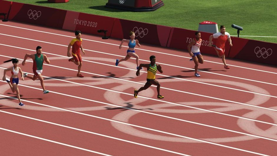 screenshot from olympic games tokyo 2020 showing several characters in a race