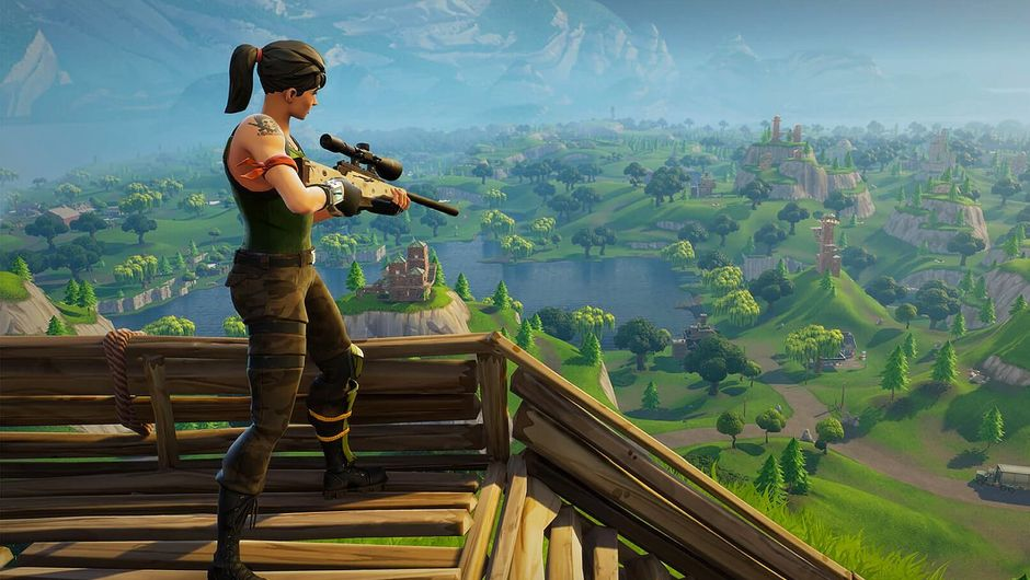 A female character in Fortnite standing on a wooden platform holding a rifle.