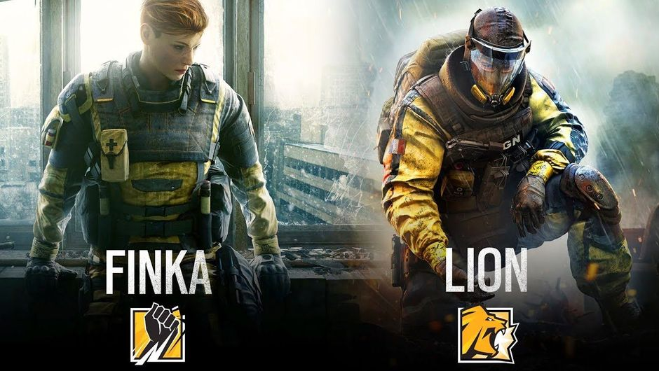 Promotional image showing the two new Rainbow Six Siege operators - Finka and Lion in their CBRN uniforms.