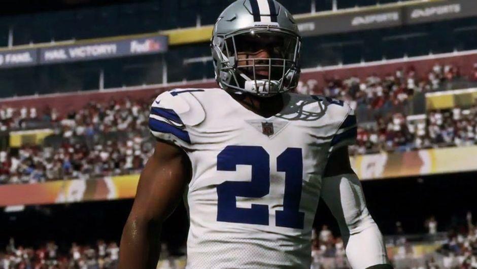 Madden NFL 19 screenshot showing Ezekiel Elliott in his home uniform.
