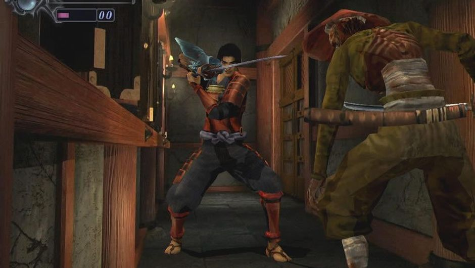 A katana wielding ninja fighting monsters in Onimusha: Warlords
