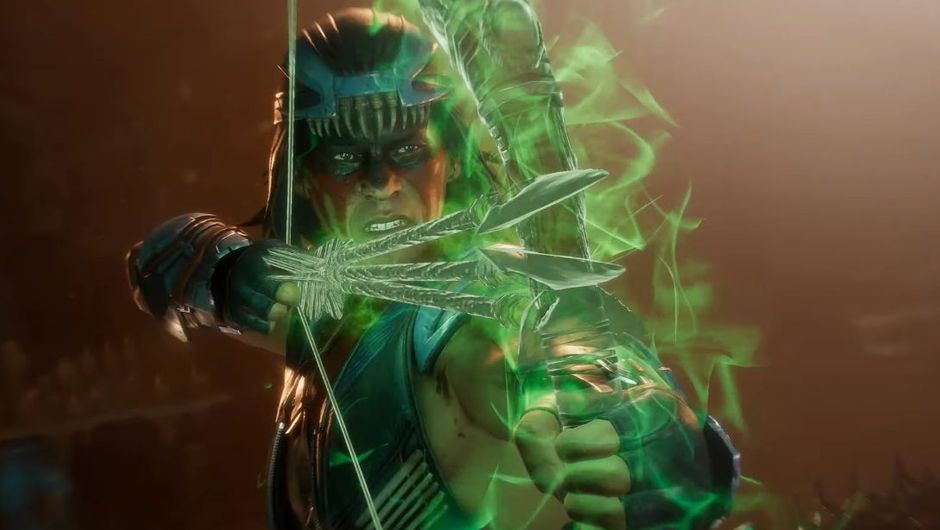 mortal kombat 11 screenshot showing nightwolf character shooting arrows