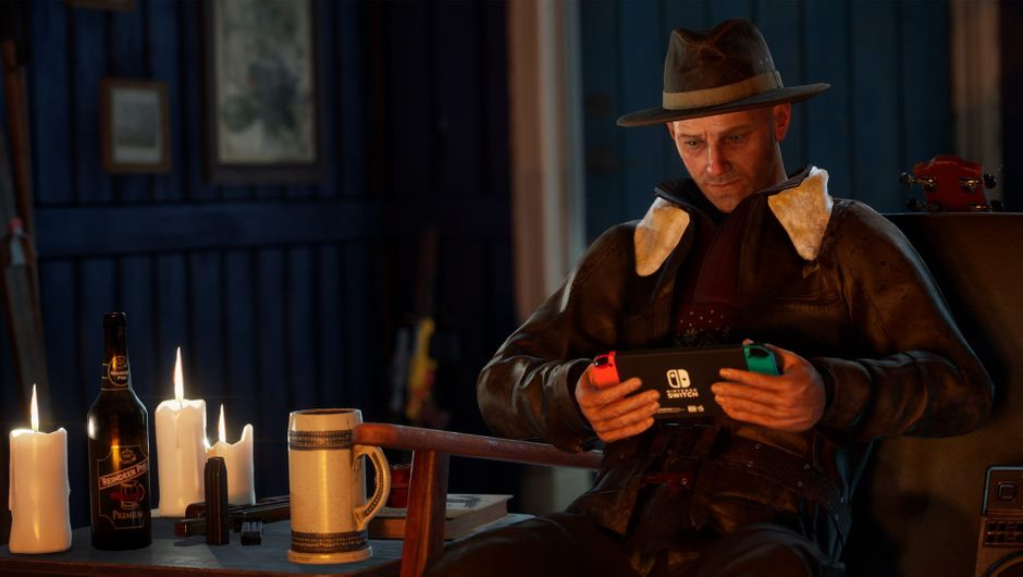 Vigor screenshot showing a man with Switch console