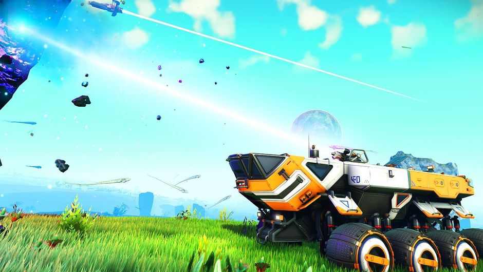 A vehicle is parked on a green area of an unidentified planet in No Man's Sky.