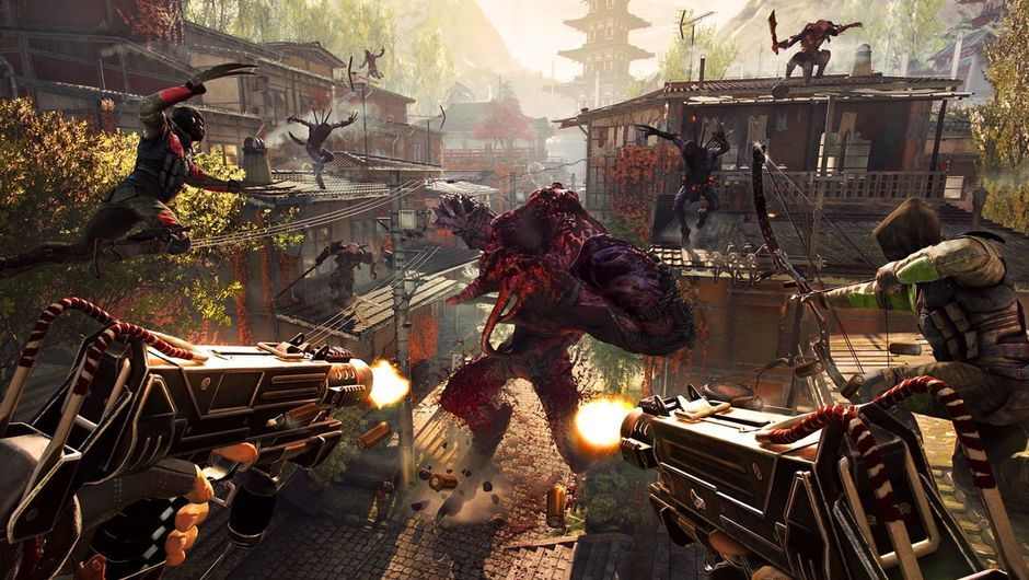Shadow Warrior 2 promotional image of ninjas hopping off rooftops onto a yawning monster