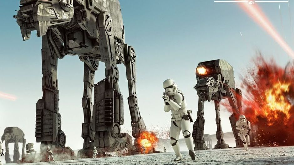 AT-ATs and Stormtroopers walking across a snowy terrain