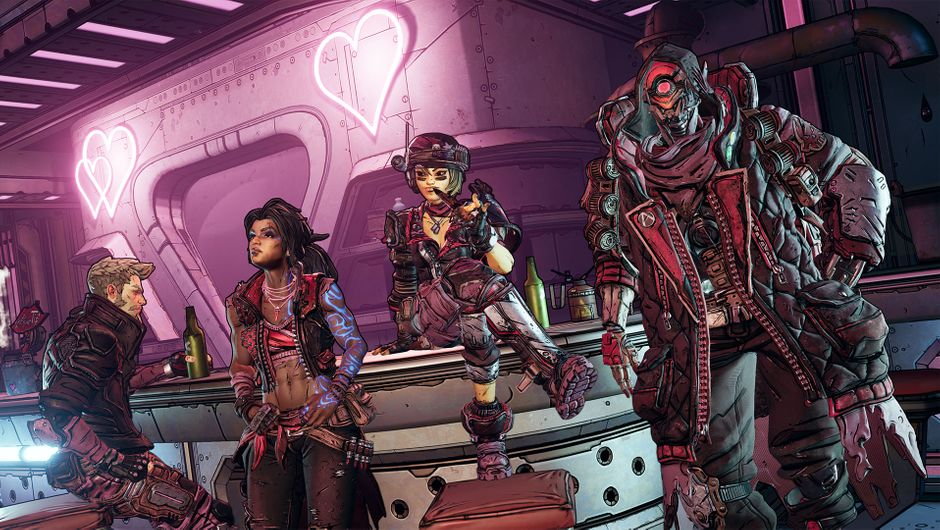 Borderlands 3 screenshot showing several characters in a bar