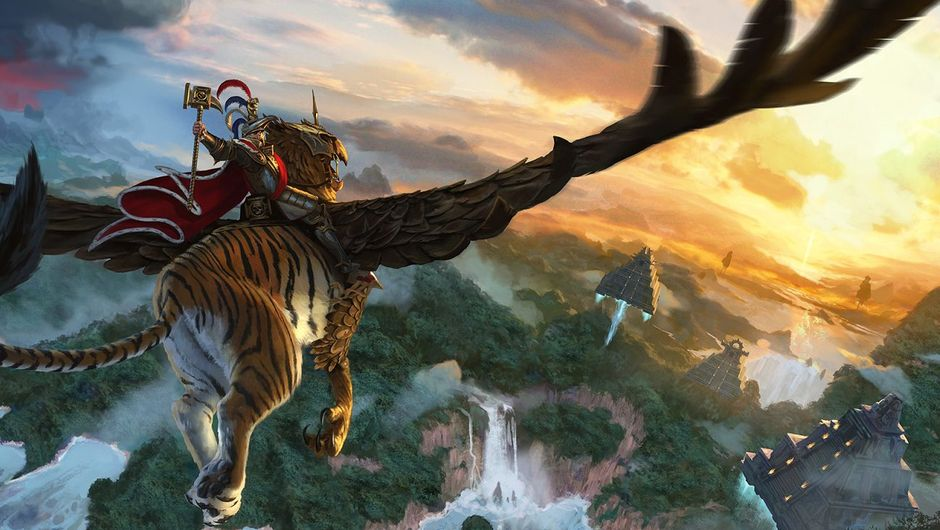 picture showing character flying on tiger