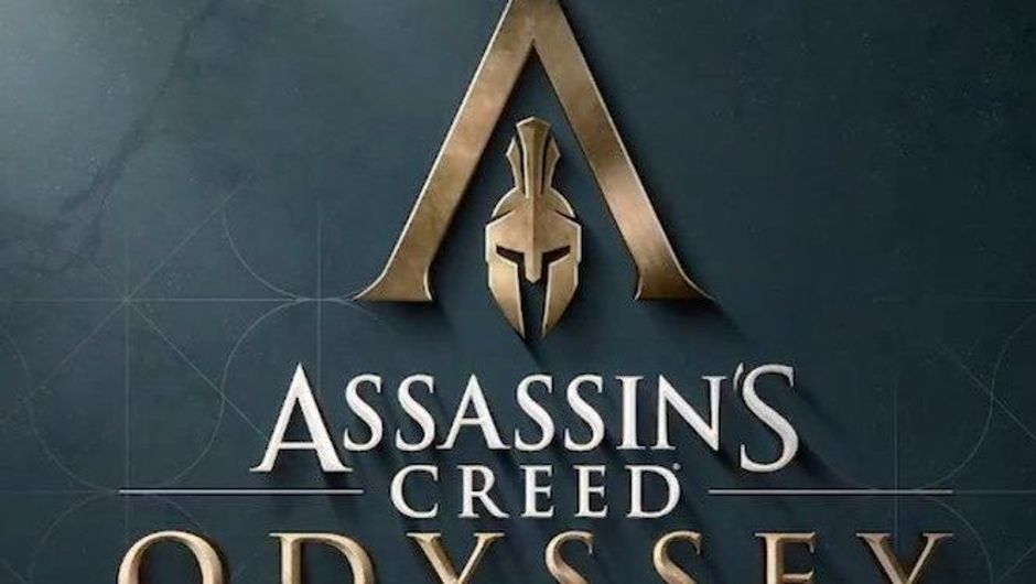 Promotional image for Assassin's Creed Odyssey in gold letters with grey background