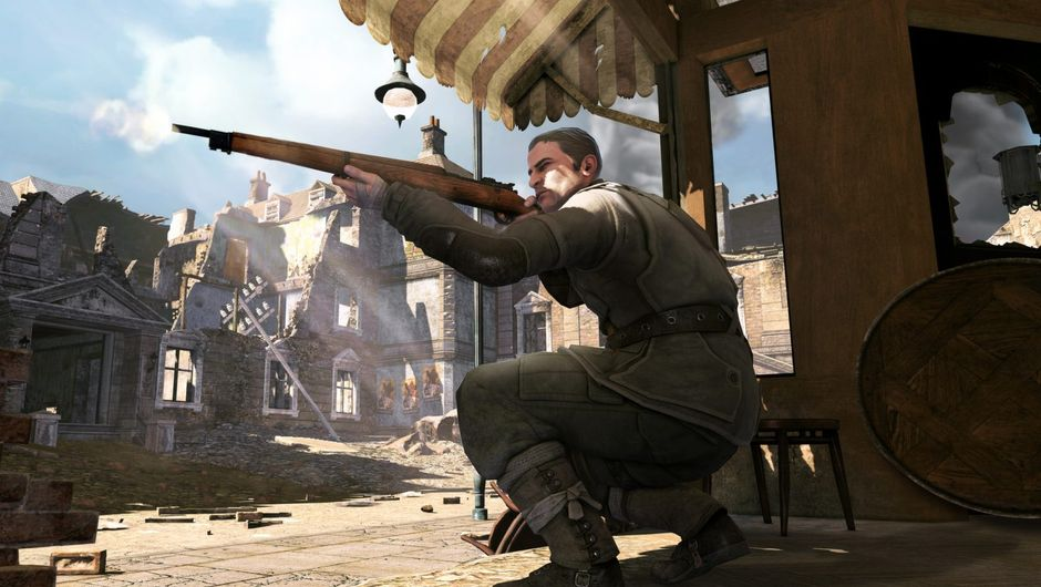 Picture of the Sniper Elite protagonist aiming his rifle