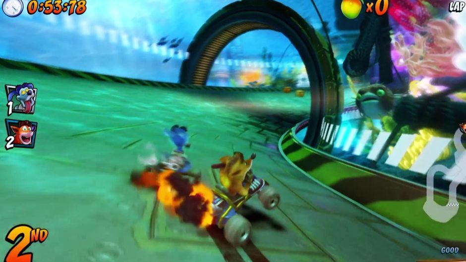 Crash Bandicoot powersliding in Crash Team Racing Nitro-Fueled.