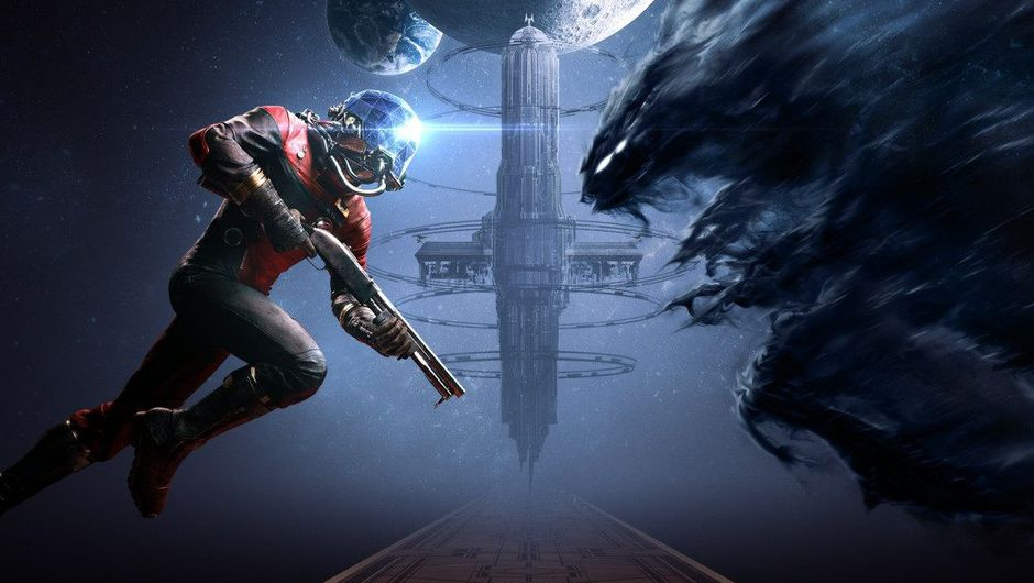 Promotional picture for Prey showing a human in red space suit going up against a shadowy creature.