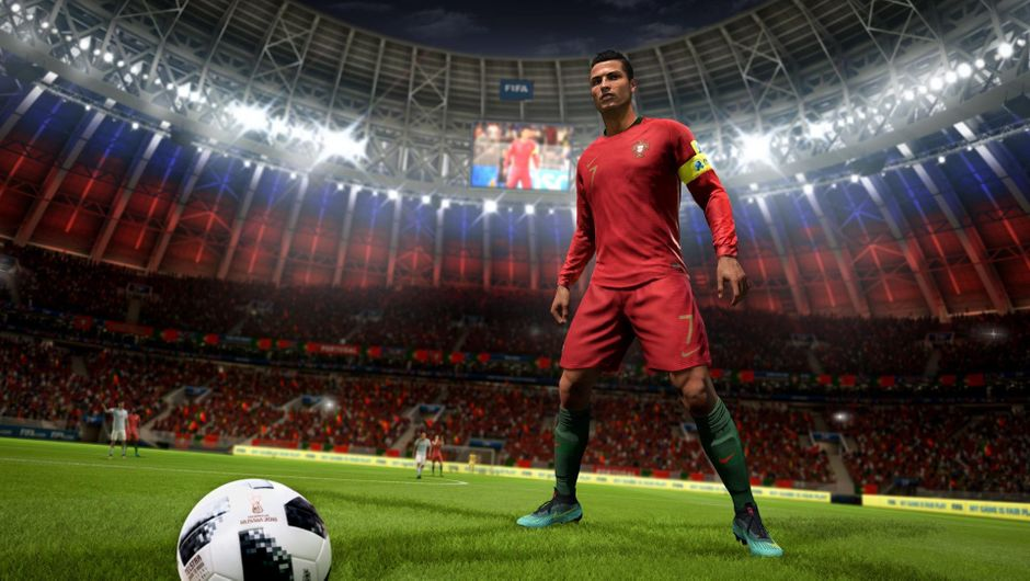 Picture of Cristiano Ronaldo in FIFA 18 about to take a free kick