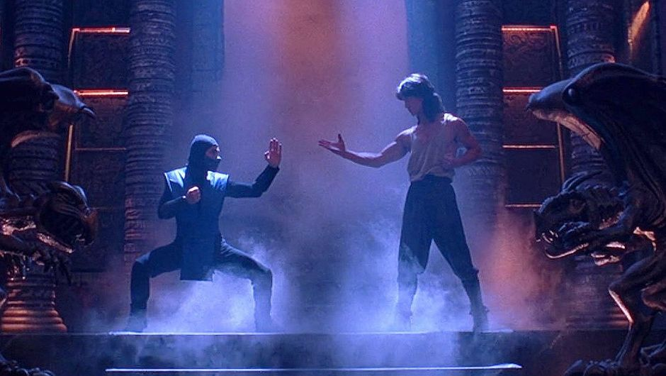 screenshot from Mortal Kombat film showing liu kang and sub zero