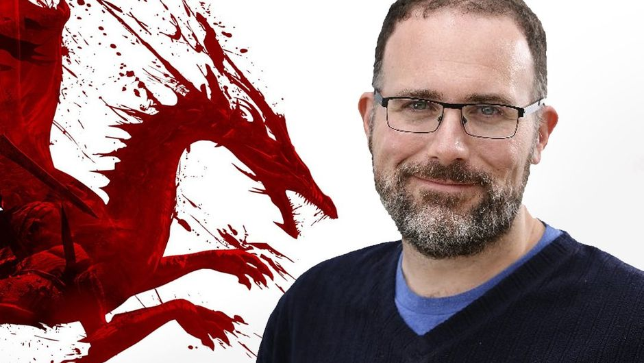 Picture of Mike Laidlaw next to a Dragon Age logo