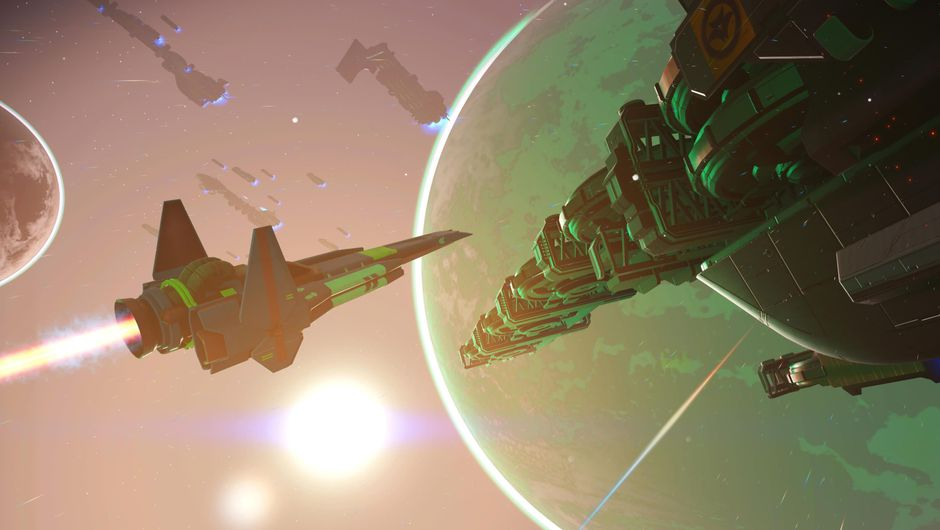 Spaceship approaching a large docking station in No Man's Sky