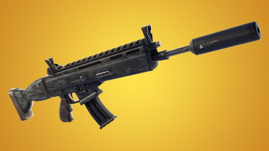 Recently added Fortnite weapon, the suppressed assault rifle