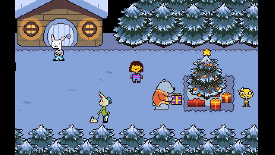 Picture of the protagonist of undertale in a snowy forest