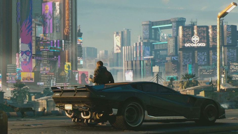 V is sitting on his car in Cyberpunk 2077 during daylight