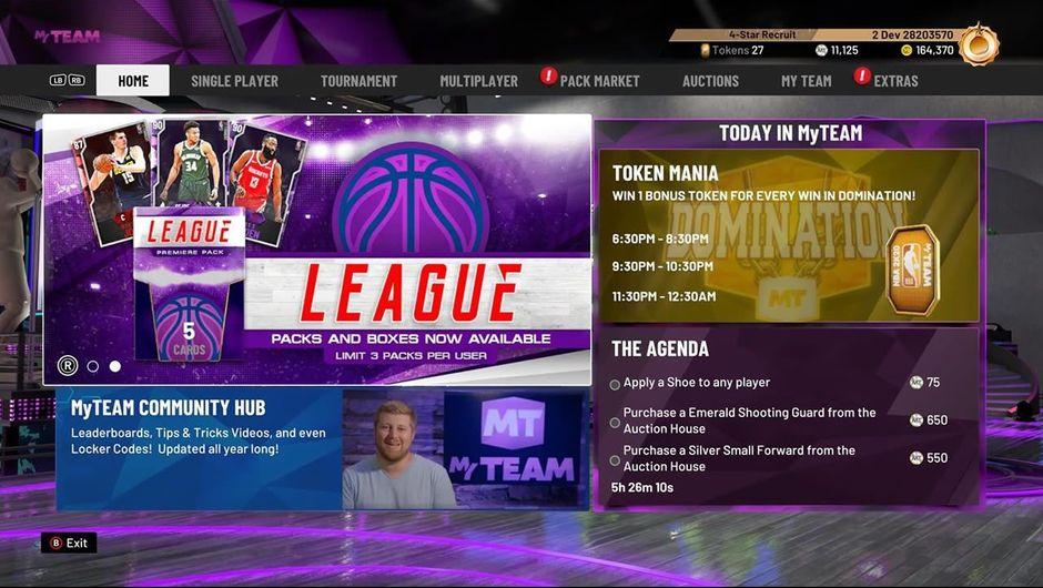 Main menu in NBA 2K20
