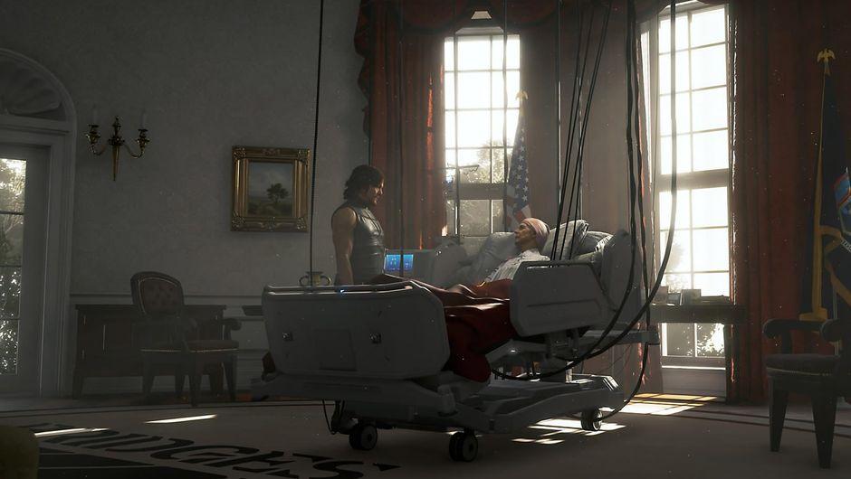 Death Stranding screenshot showing a man lying in bed