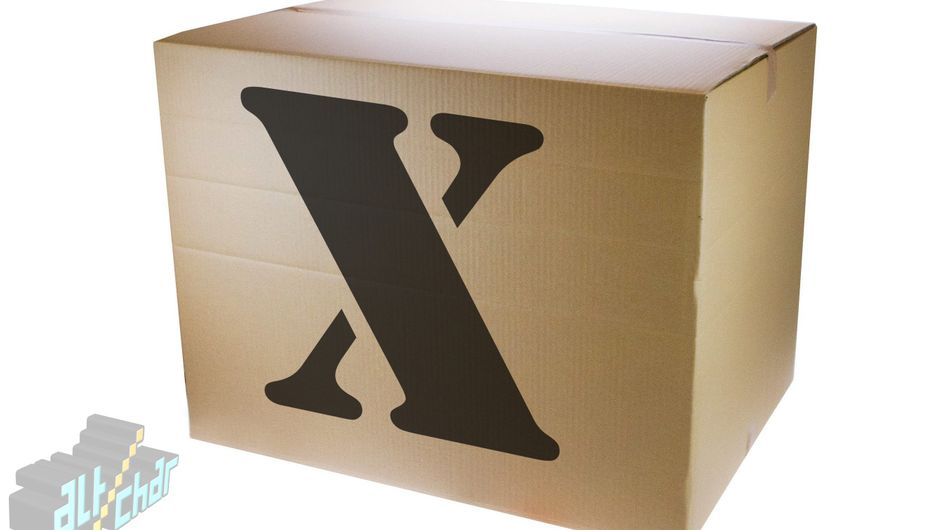 Spoof image showing a box with a big X on it, alluding to the name of Microsoft's console