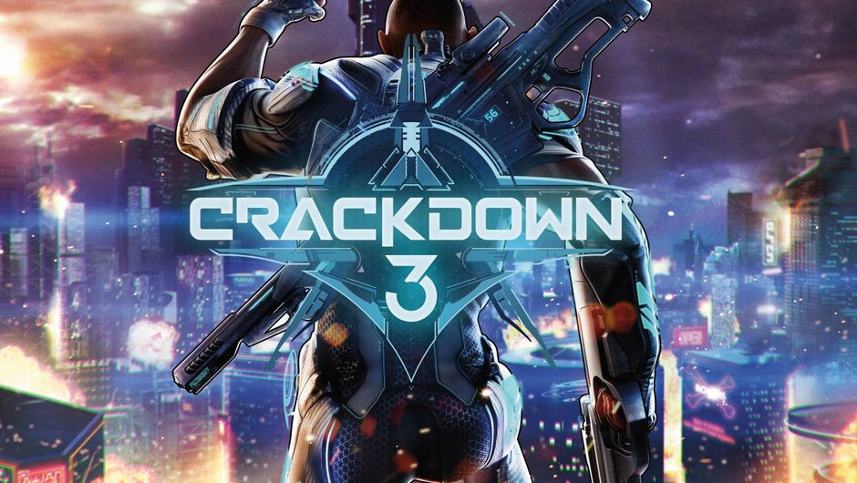 picture showing crackdown 3 logo in front of a man