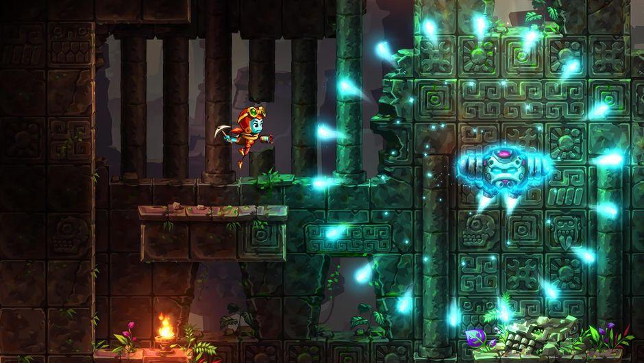 A side view of a platform game Steamworld Dig 2