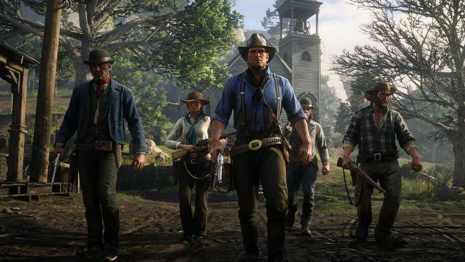 RDR2 screenshot of cowboys walking a way from a church that isn't exploding