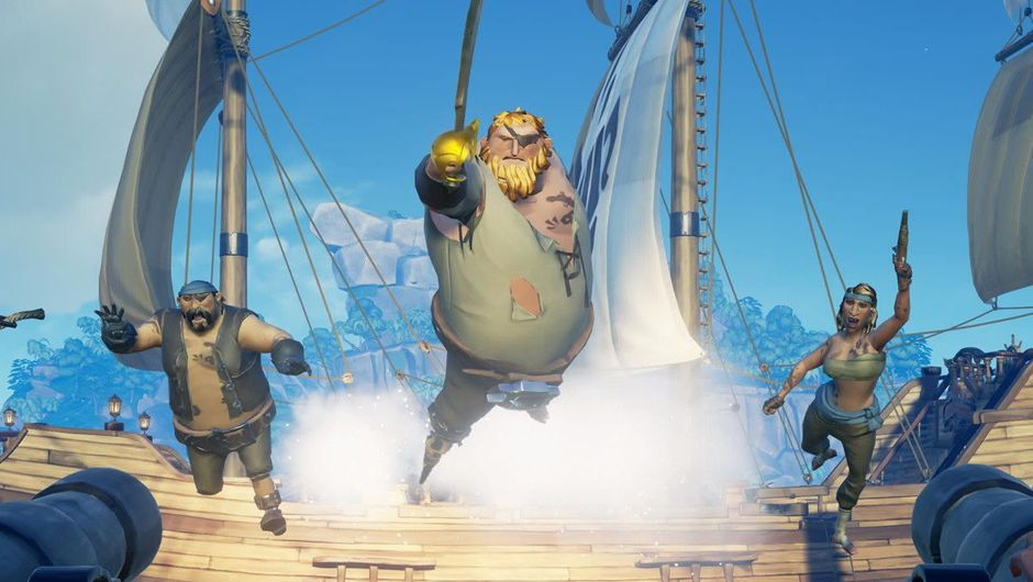 Three animated pirates jumping on deck in the game Sea of Thieves