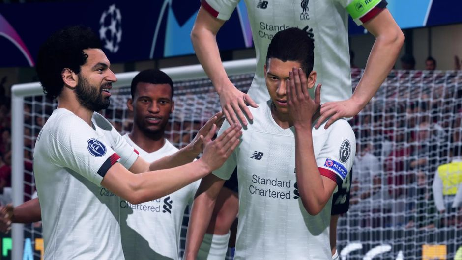 Roberto Firmino performing his new goal celebration in FIFA 20