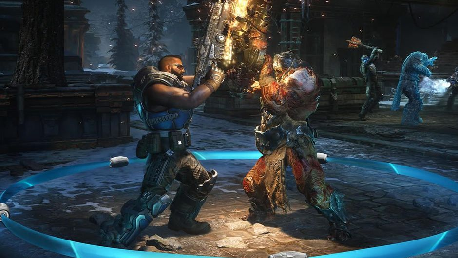 Gears 5 character fighting an enemy in a blue circle