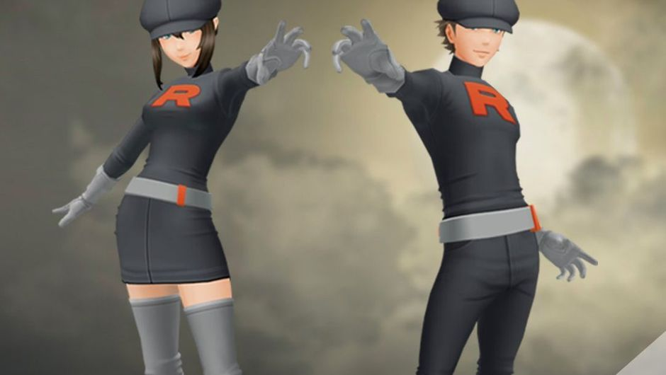 Team Rocket outfits for male and female trainers in Pokemon GO