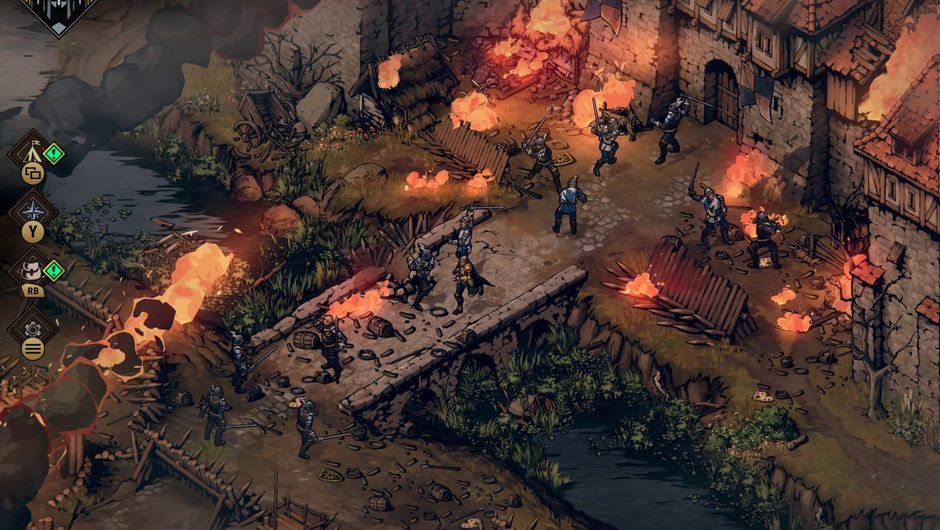 Picture of some puny humans fighting each other in Thronebreaker