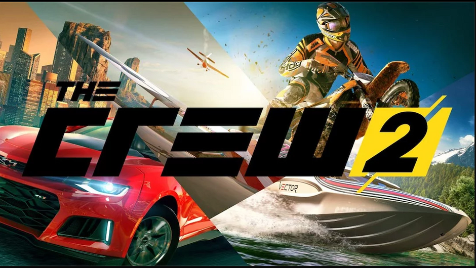 Promotional picture for The Crew 2 showing a red Chevrolet Camaro SS, a dirtbike, a boat and a plane.