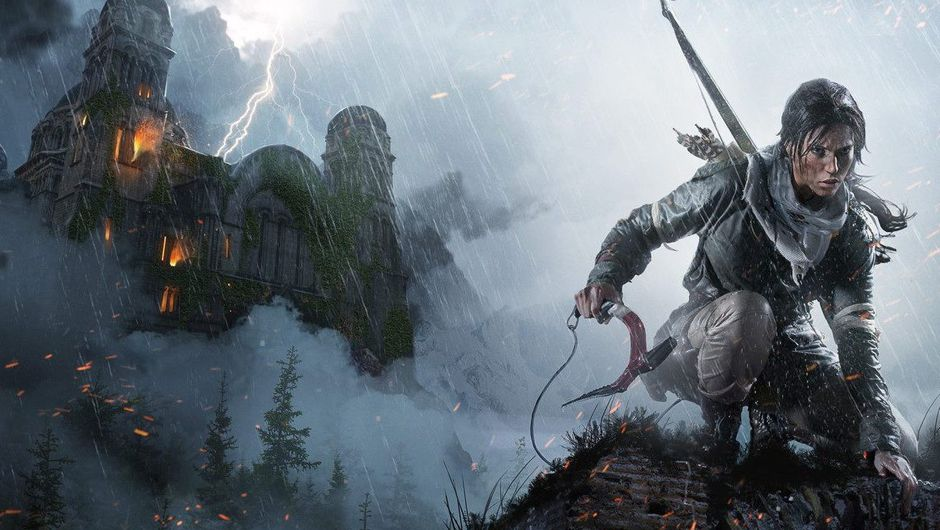 Lara Croft is climbing mountains near Dracula's castle that's hit by lightning.