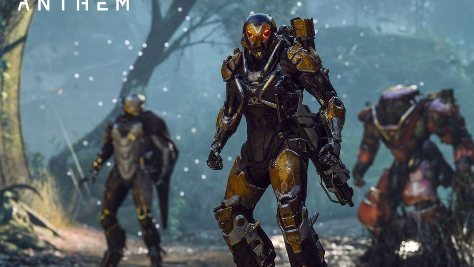 Three characters from Anthem facing the camera