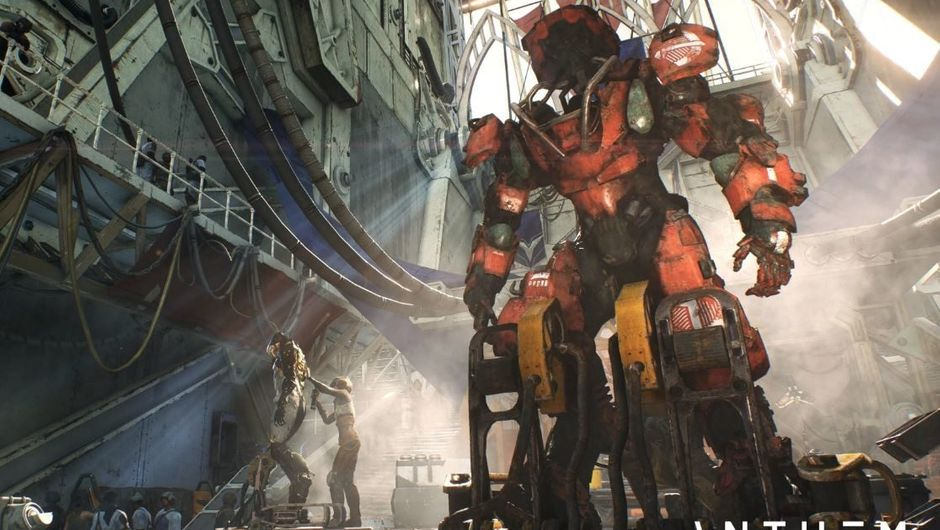 Picture of a javelin in a hangar from Anthem by BioWare