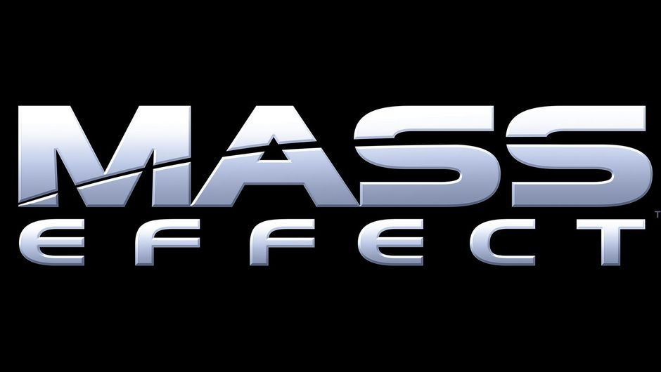 Mass Effect title screen, black background with silver-blue letters.