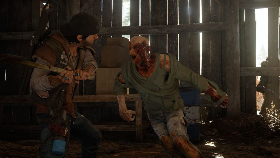 Days Gone protagonist swinging a bat at a zombie