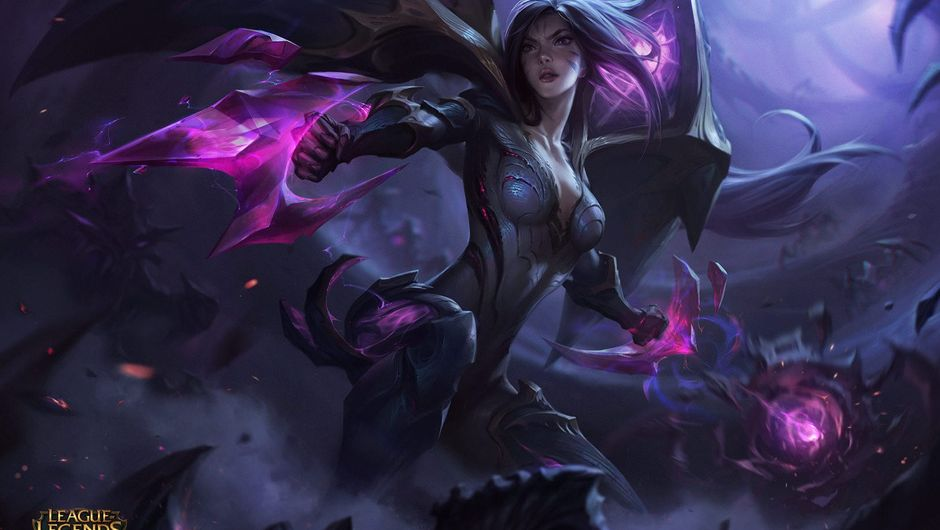League of Legends champion Ka'isa splash art shows a woman in armor in shades of black and violet
