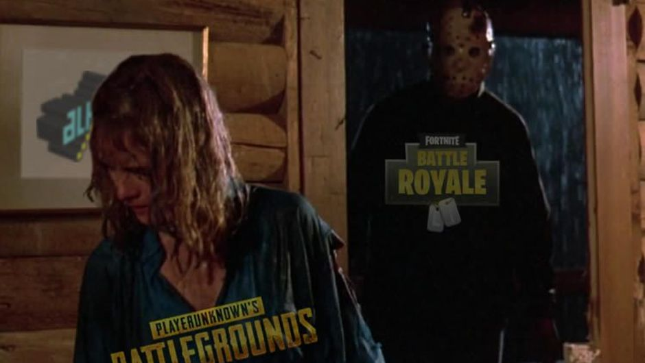 Jason from Friday the 13th standing behind a woman