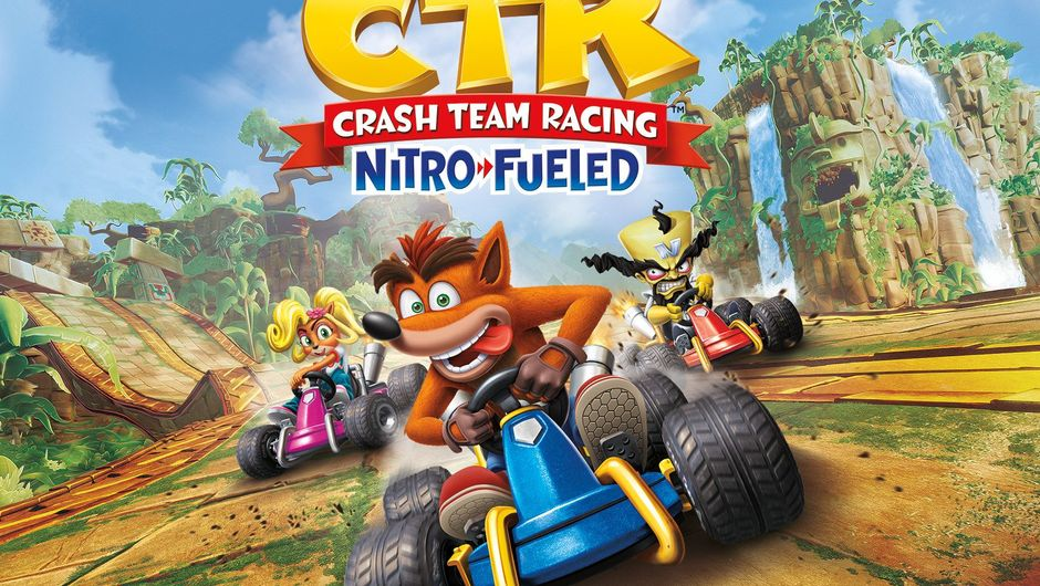 Crash Team Racing Nitro-Fueled artwork showing several characters in a race