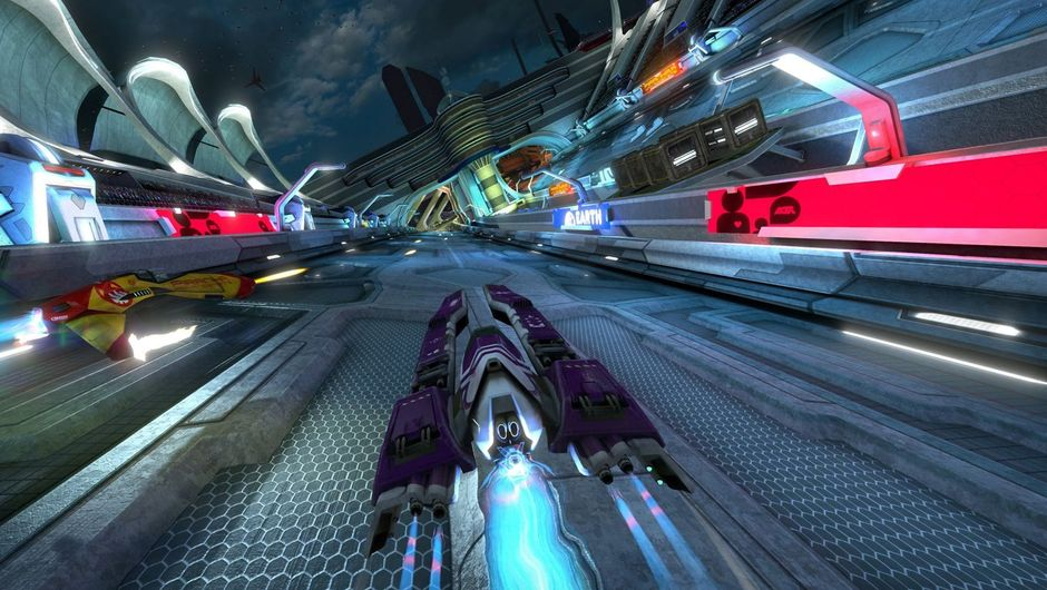 Futuristic car driving on a race track in Wipeout Omega Collection