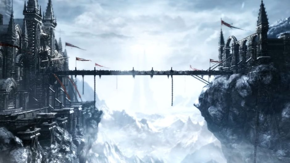 Lost ark screencap of bridge with clouds and hills in background