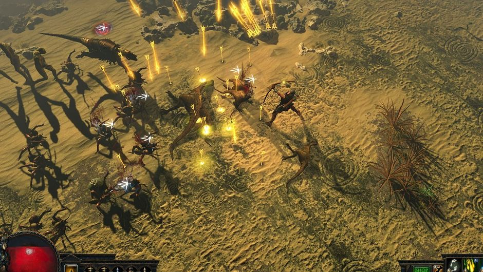 Player fighting a pile of monsters in a desert map of Path of Exile.