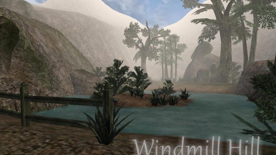 A view of Windmill Hill from Fablewind, a Fable mod made in Morrowind